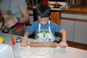 Ian baking some biscuits